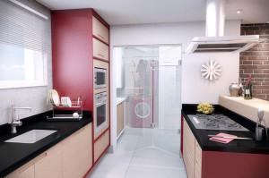 porta de vidro articulada para cozinha